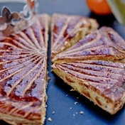 Galette des rois (frangipane-filled pastry) with Corsican clementines