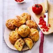 Savory vine tomato, feta & basil muffins with toasted squash seeds