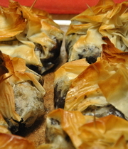 Blood sausage with apples in brik (or phyllo)