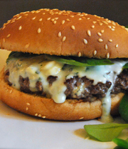 Burger with blue cheese and basil sauce