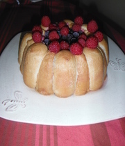 Red fruits charlotte cake