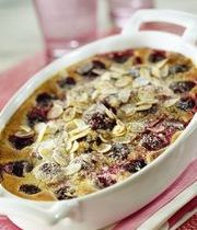 Nectarine, prune and almond clafoutis