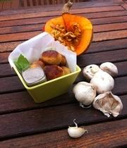 Pumpkin (red kuri), mozzarella and curry croquettes with a mushroom dip
