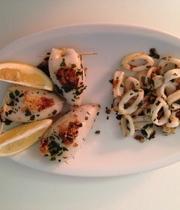Squid, quinoa and summer vegetables