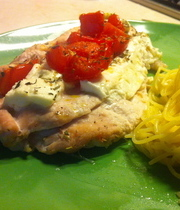 Turkey cutlets with feta and tomatoes