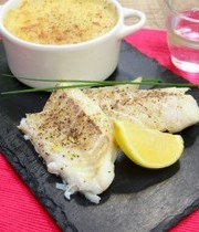 Long cod and oven-baked christophine (chayote)