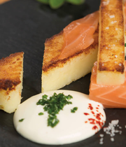 Luxury potato fingers with salmon and curry cream