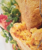 Vegetable and bacon cakes with curry