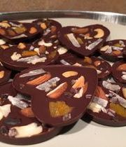 Chocolate Florentines with dried fruit