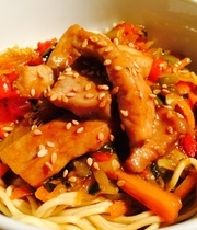 Pork-vegetables in Yakitori sauce with noodles