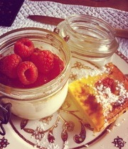 Vanilla panna cotta/raspberries with lemon bars