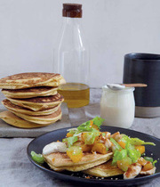 Chickpea pancakes, sautéed chicken and orange blossom salad