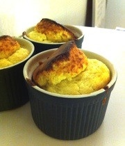 Small ham and cheese soufflés
