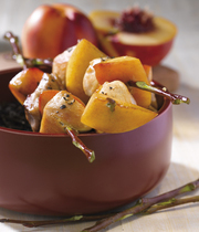 Regional chicken and nectarine skewers with balsamic vinaigrette