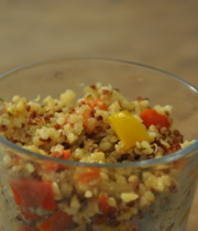 Quinoa, chicken and sweet bell peppers