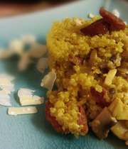 Saffron quinoa with chorizo crisps and mature comté cheese