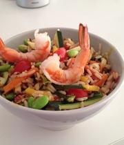 Brimming bowl of shrimp and edamame