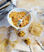 Yvan Cadiou's homemade ravioli with farmers' cheese, carrots, dried apricots and pine nuts
