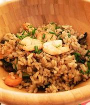 Stir-fried rice with jumbo shrimp and vegetables