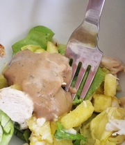 Pineapple chicken salad with pink vinaigrette
