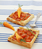 Tarte fine (thin crusted tart) with carrot confit and cheese