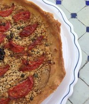Thin crust tomato and ricotta tart
