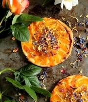 """Tarte fines (thin crusted tarts) with apricots and """"""""flower salad"""""""""""
