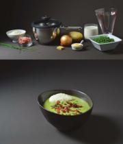 Comfort pea velouté with parmesan quenelle