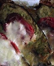 Baked eggplant with pesto and mozzarella