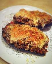 Bolognese-stuffed eggplants