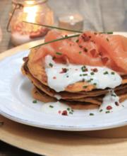 Sweet potato blinis, smoked salmon and vodka cream