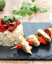 Chicken, coconut and kaffir lime skewers