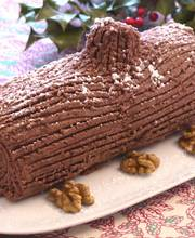 Chocolate-chestnut Christmas yule log