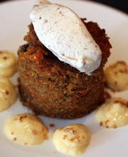Quinoa carrot cake, orange cream and hazelnut ice cream