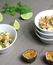 Shrimp ceviche with passion-fruit