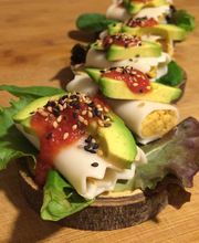 Chicken cannelloni with avocado and tomato