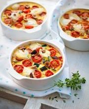 Savory vegetable, hazelnut and goat cheese clafoutis