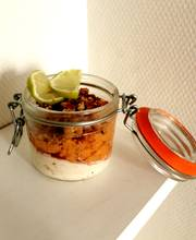 Slow-cooked persimmon with hazelnut crumble and mascarpone cream