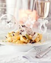 Conchiglie with lemon, mascarpone and black olive slivers