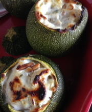 Zucchini stuffed with ricotta and goat cheese