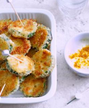 Breaded zucchini, curry yoghurt sauce