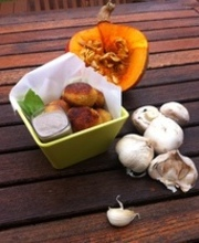 Pumpkin (red kuri), mozzarella and curry croquettes with a mushroom dip