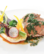 Braised lamb, vegetable tartine with Oriental flavors