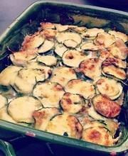 Ravioli and zucchini gratin