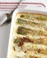 Cheesy leek and parmesan gratin
