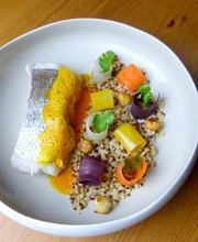 Coley in orange and cumin emulsion. Quinoa with roasted hazelnuts and glazed carrots.
