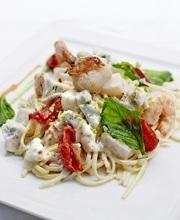 Jumbo shrimp, scallops and sun-dried tomato linguine with gorgonzola