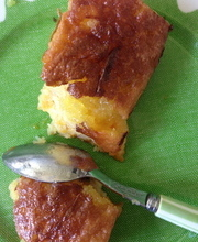 Molten apricot cake