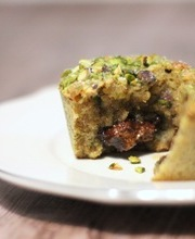 Molten pistachio cakes with hazelnut lava