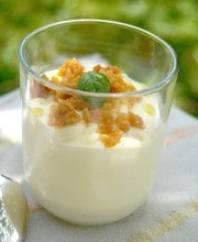 Lemon mousse with olive oil and basil